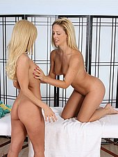 Blonde teen masseuse licks pussy for the first time
