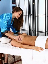Sexy masseuse grabbing nice titties