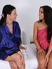Masseuse Loni Evans talking to Lola before the massage