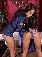 Big tit police officer checking out asian masseusers tight ass