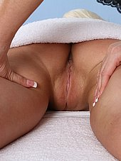 Rikki Six's tight shaved pussy under the towel