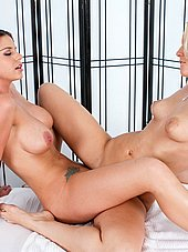 Vanessa Cage and Brooklyn Chase scissoring at the parlor